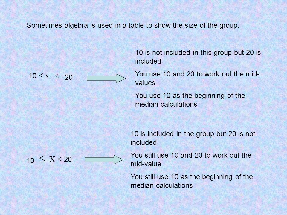 Sometimes algebra is used in a table to show the size of the group.