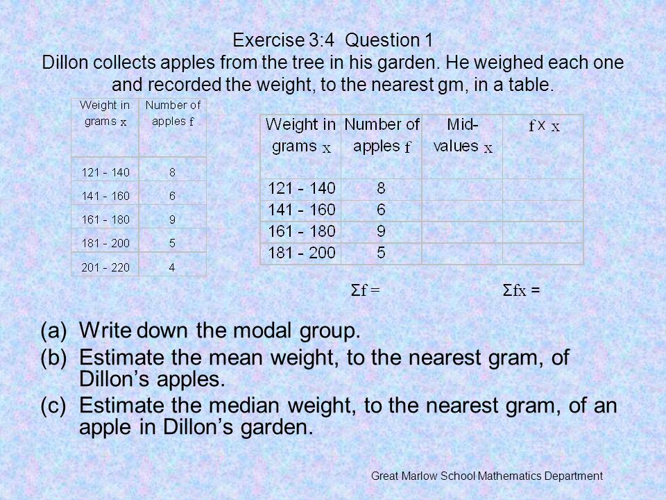 Write down the modal group.