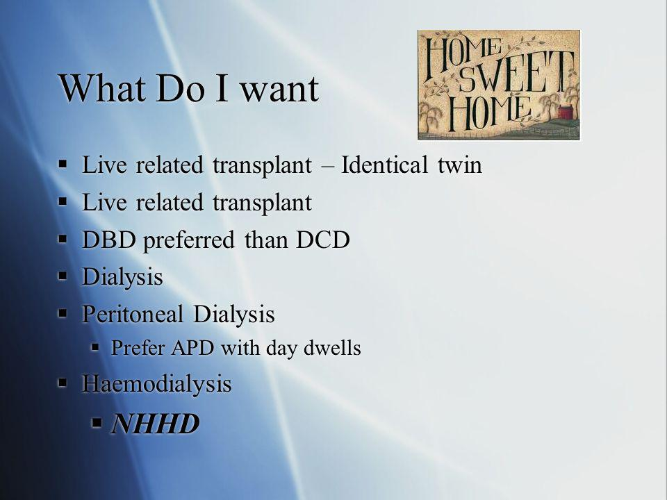 What Do I want NHHD Live related transplant – Identical twin