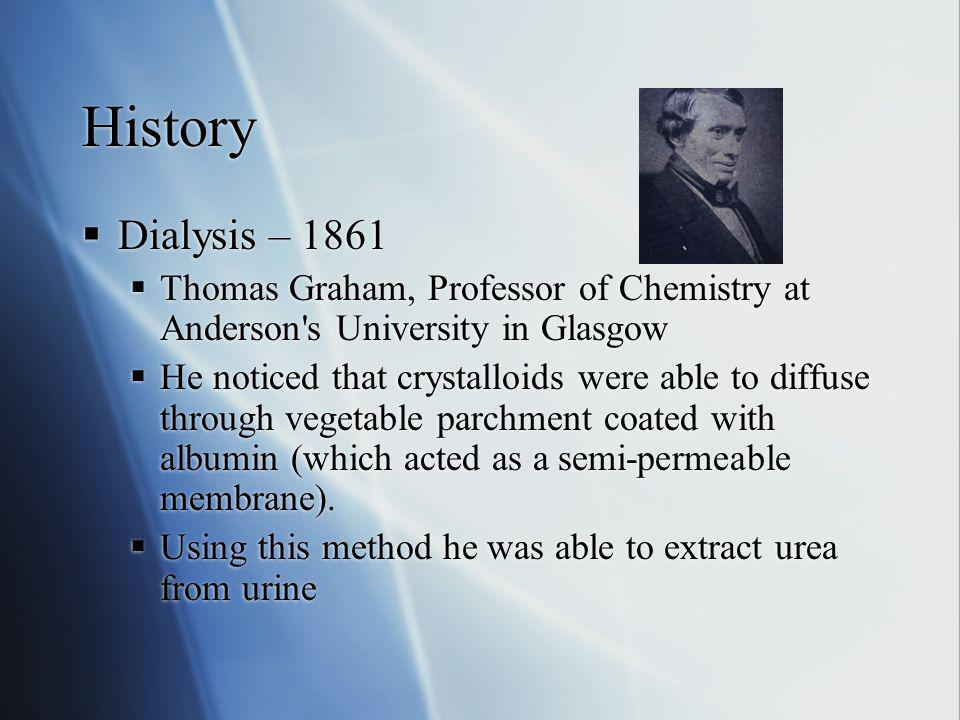 History Dialysis – 1861. Thomas Graham, Professor of Chemistry at Anderson s University in Glasgow.