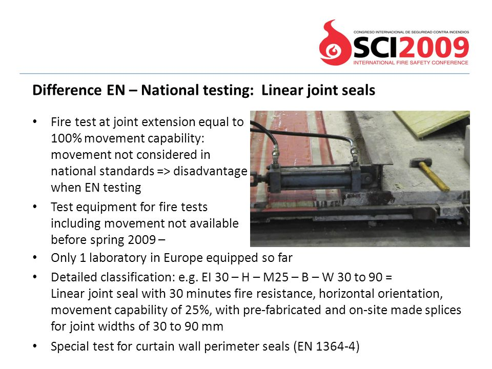 Difference EN – National testing: Linear joint seals
