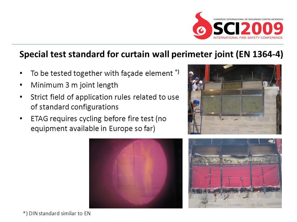 Special test standard for curtain wall perimeter joint (EN 1364-4)