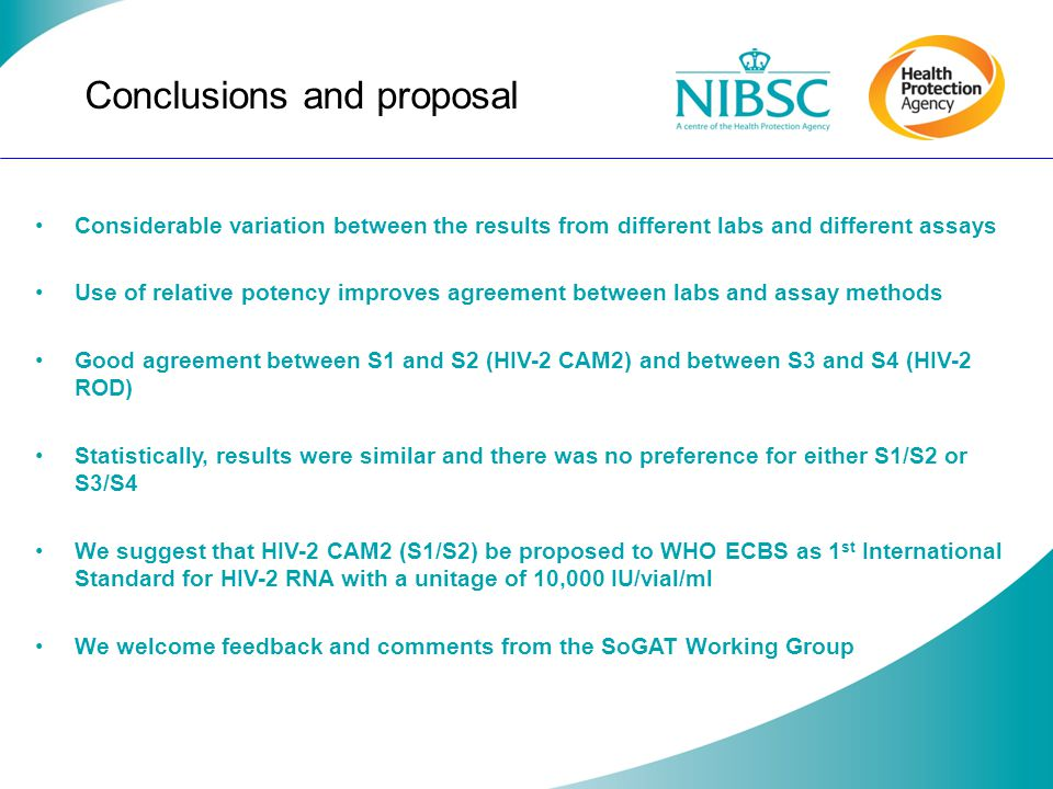 Conclusions and proposal