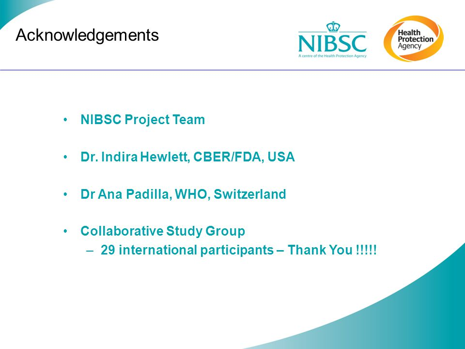 Acknowledgements NIBSC Project Team Dr. Indira Hewlett, CBER/FDA, USA