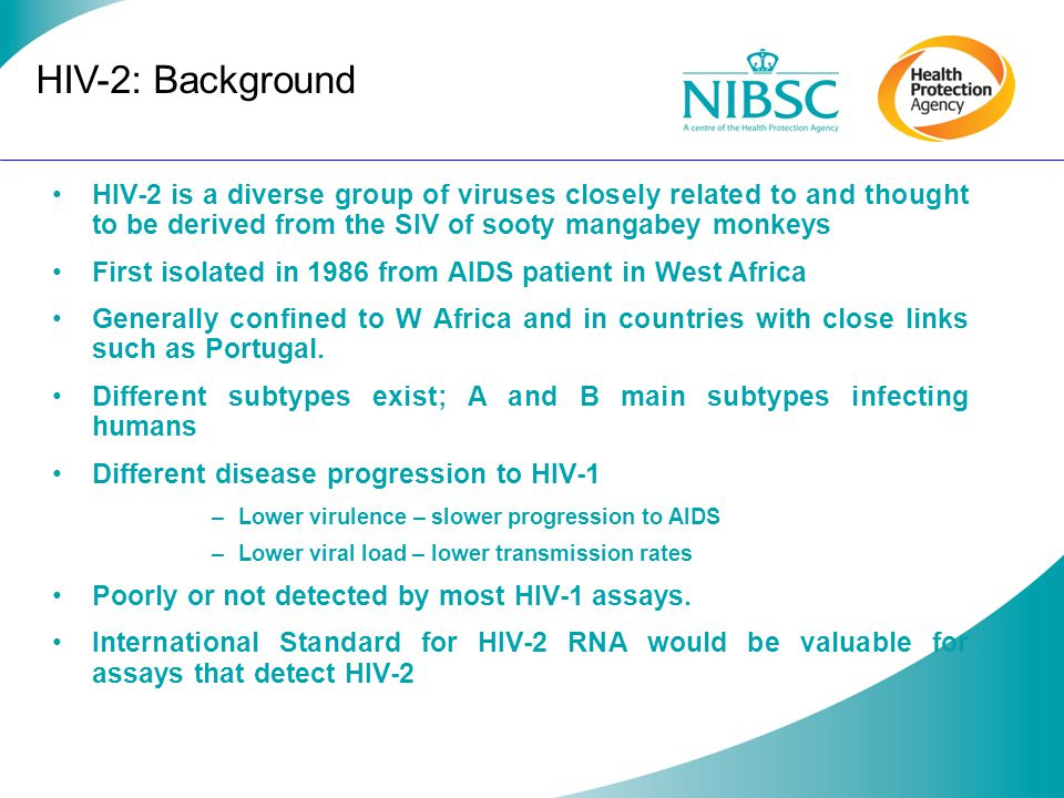HIV-2: Background HIV-2 is a diverse group of viruses closely related to and thought to be derived from the SIV of sooty mangabey monkeys.