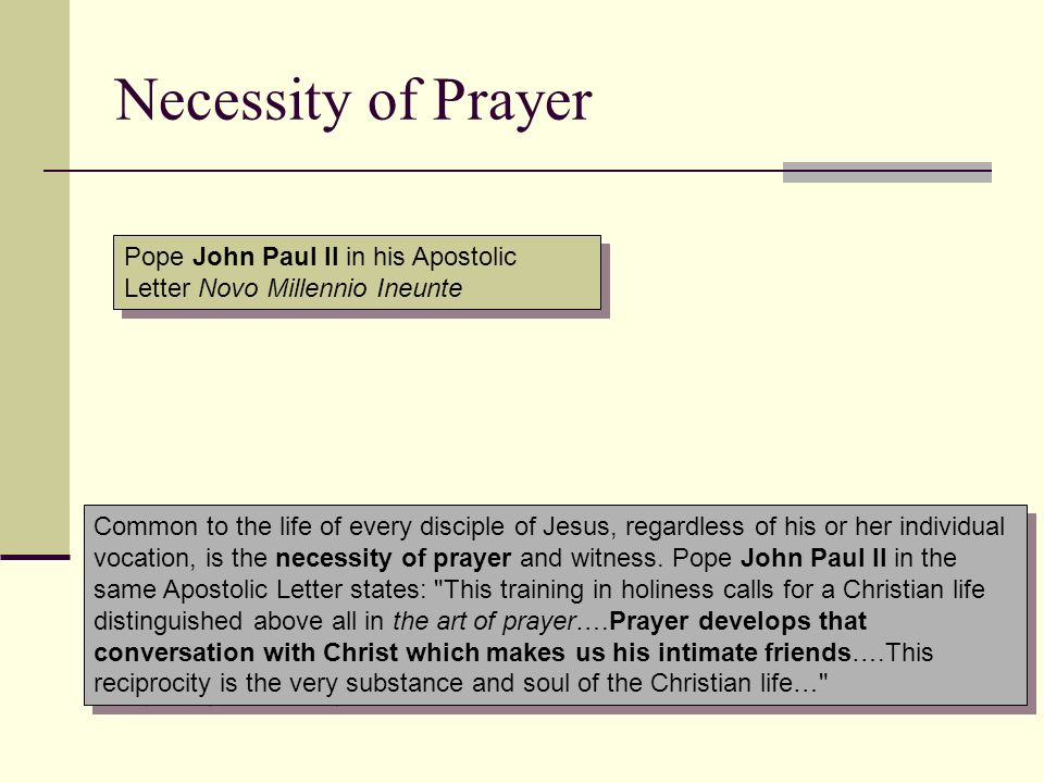 Necessity of Prayer Pope John Paul II in his Apostolic Letter Novo Millennio Ineunte.