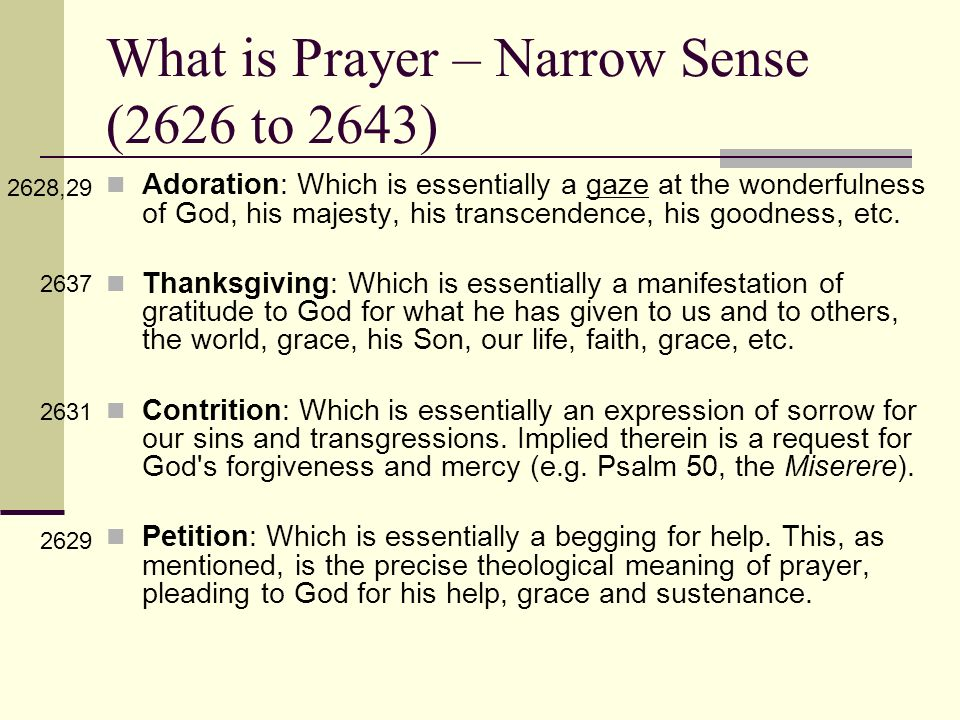 What is Prayer – Narrow Sense (2626 to 2643)