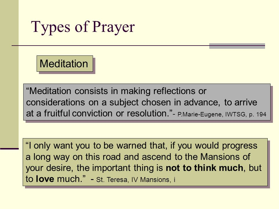 Types of Prayer Meditation
