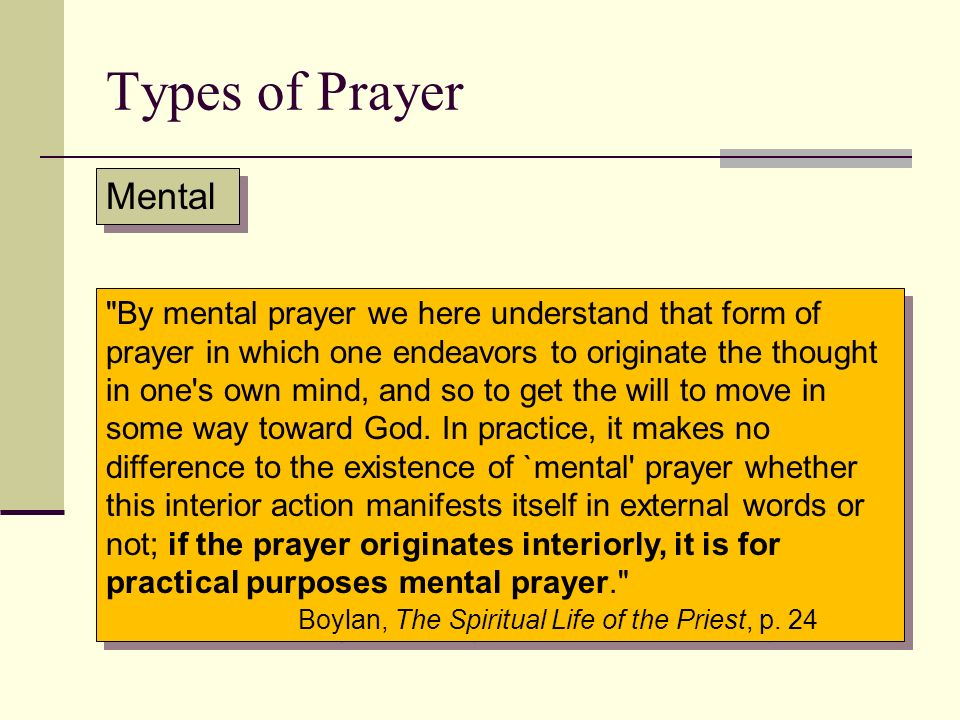 Types of Prayer Mental.