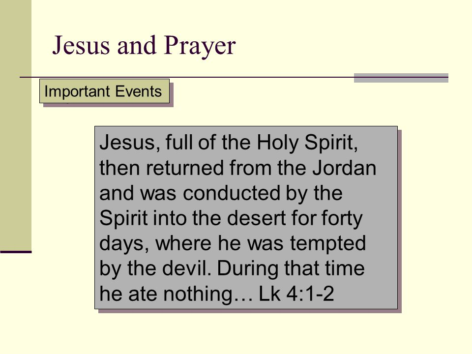 Jesus and Prayer Important Events.