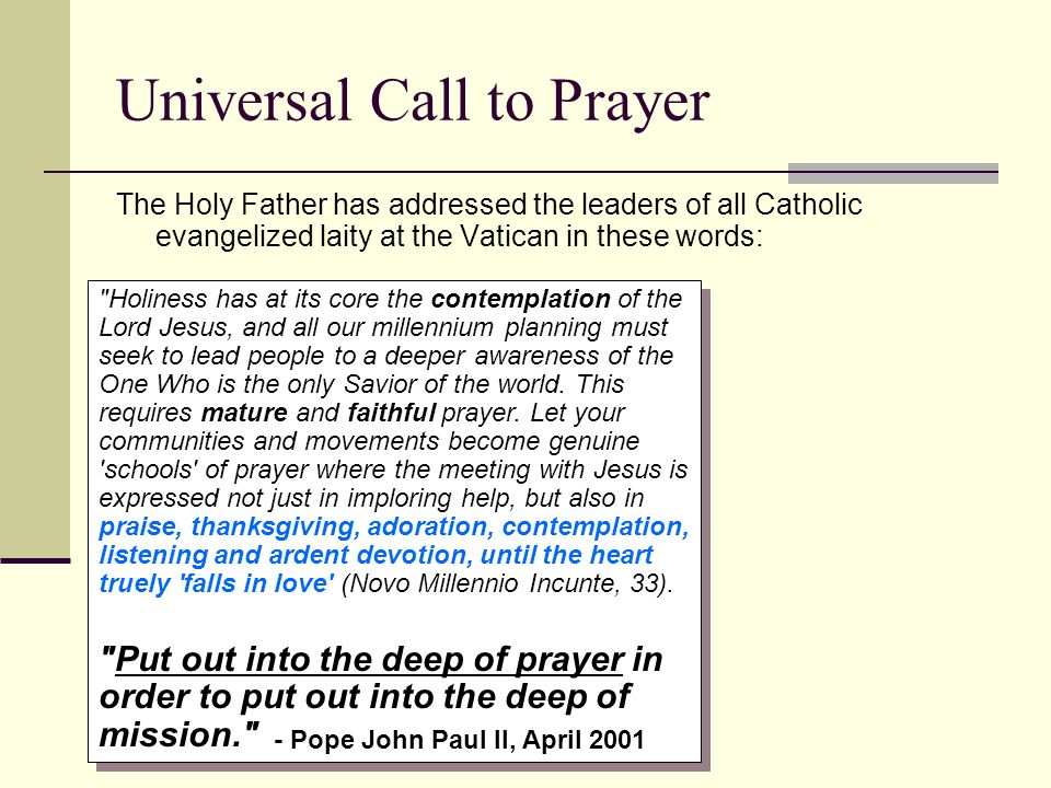 Universal Call to Prayer