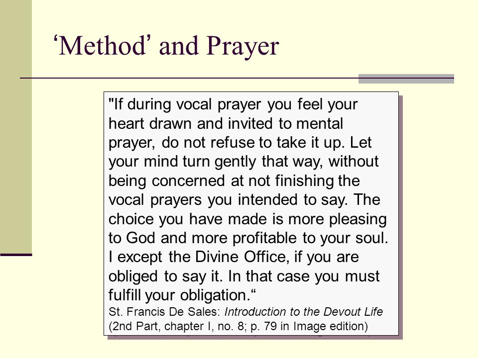 'Method' and Prayer