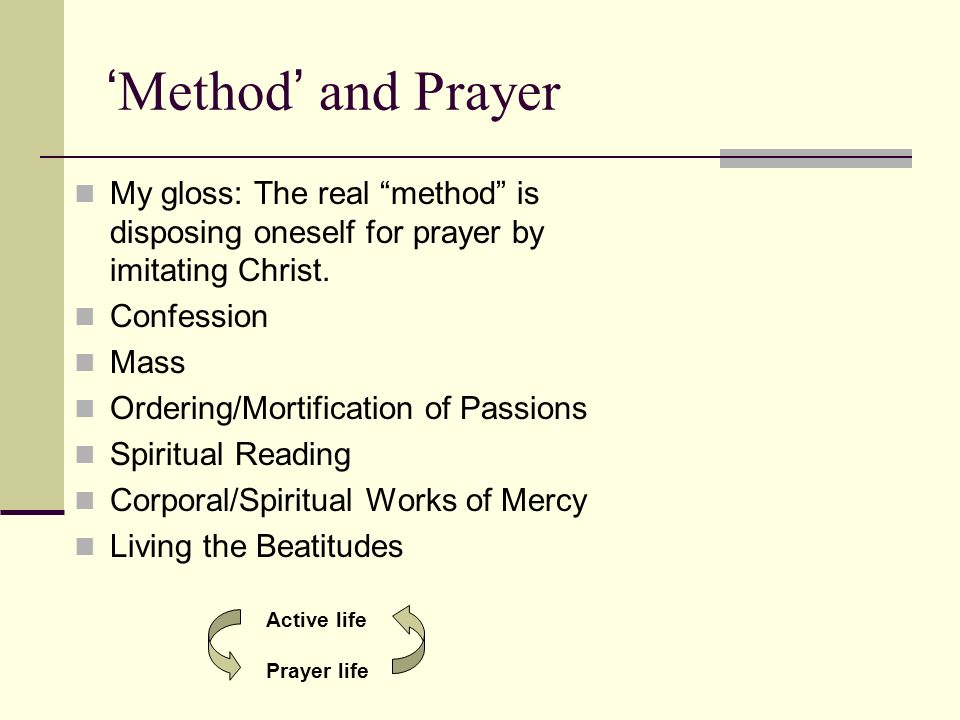 'Method' and Prayer My gloss: The real method is disposing oneself for prayer by imitating Christ.