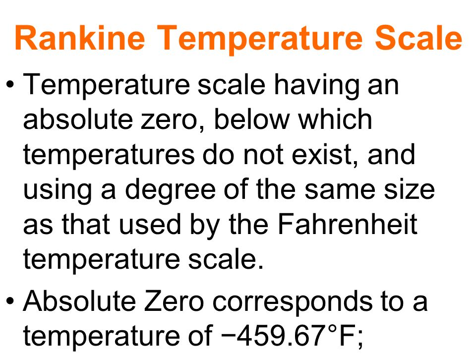 Rankine Temperature Scale