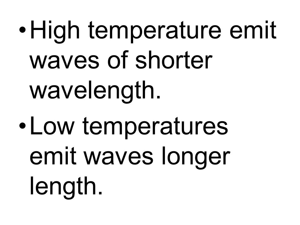 High temperature emit waves of shorter wavelength.