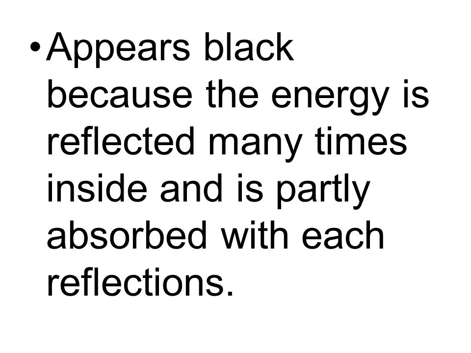 Appears black because the energy is reflected many times inside and is partly absorbed with each reflections.