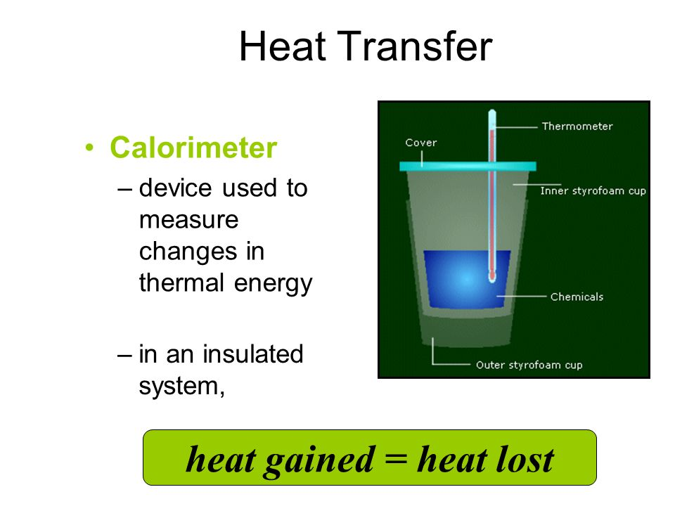 Heat Transfer heat gained = heat lost Calorimeter