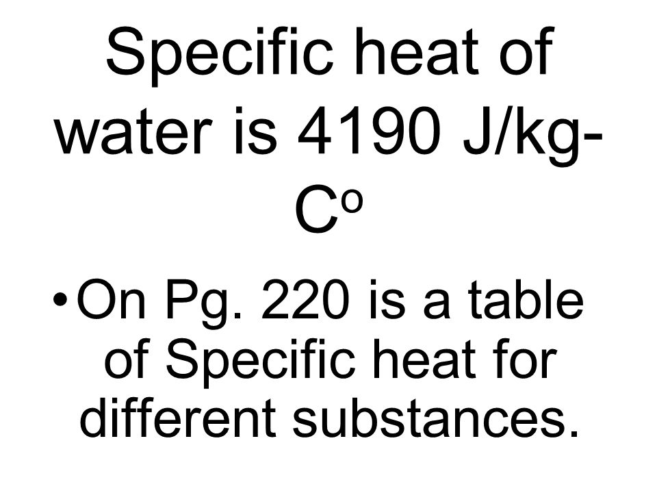 Specific heat of water is 4190 J/kg-Co