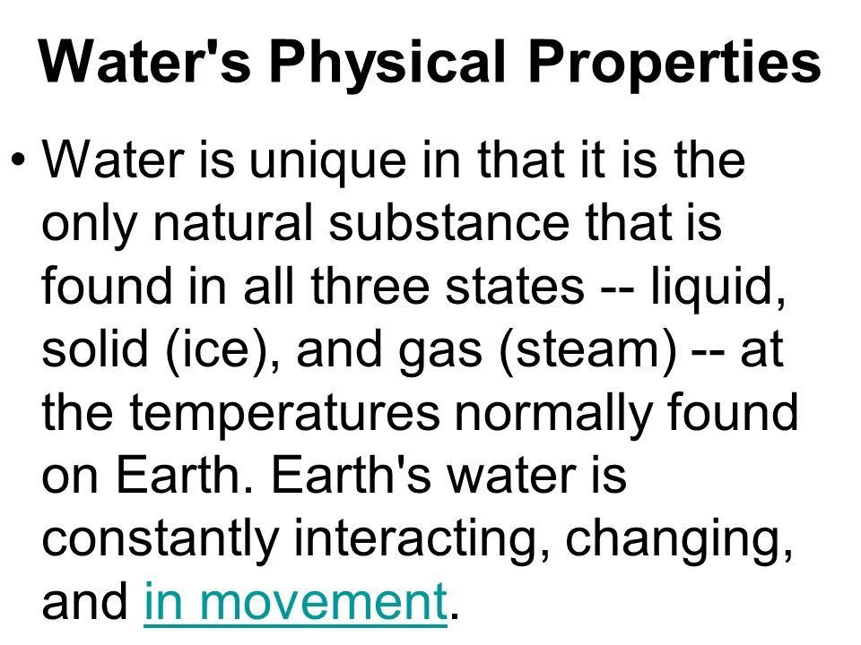 Water s Physical Properties