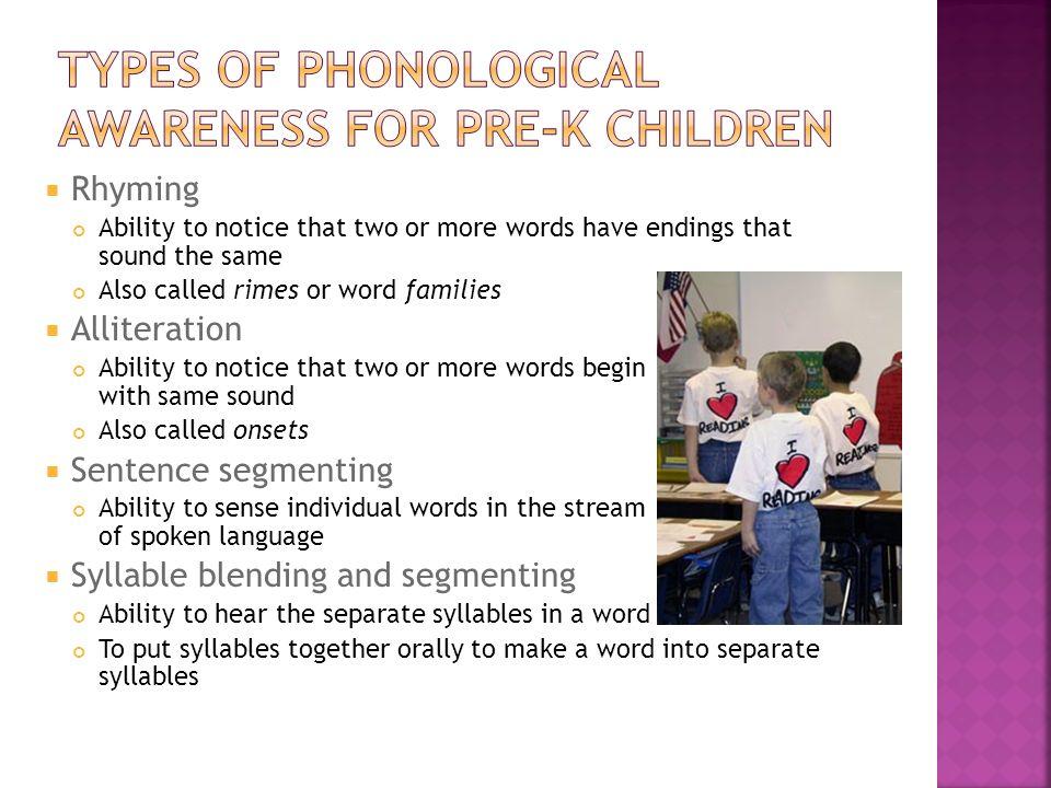 Types of phonological awareness for pre-k children