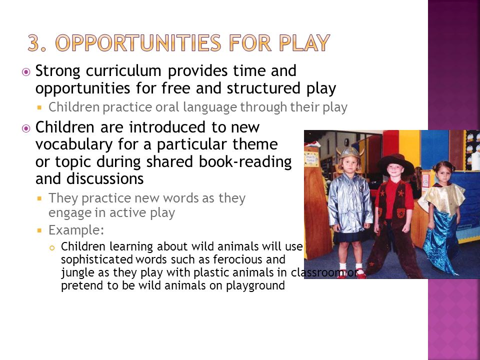 3. Opportunities for play