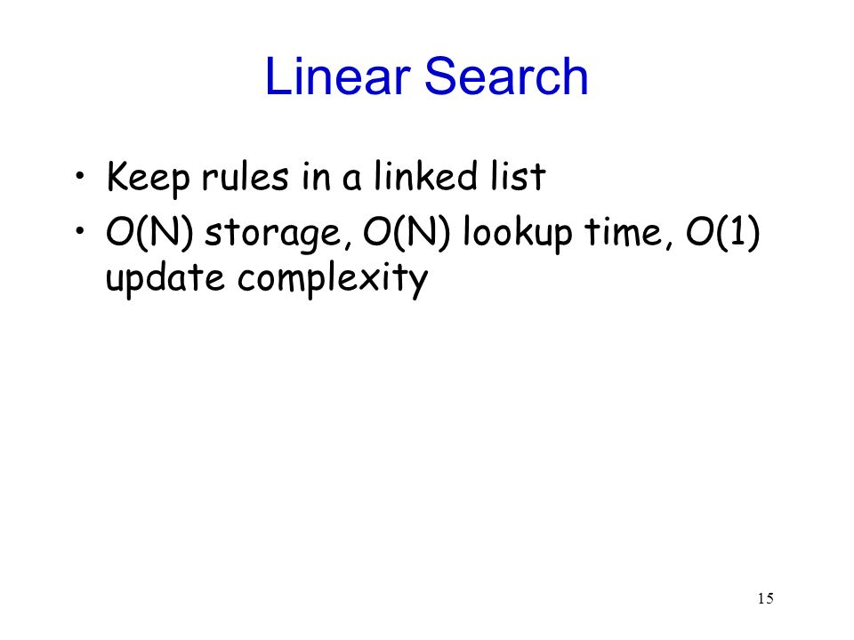 Linear Search Keep rules in a linked list