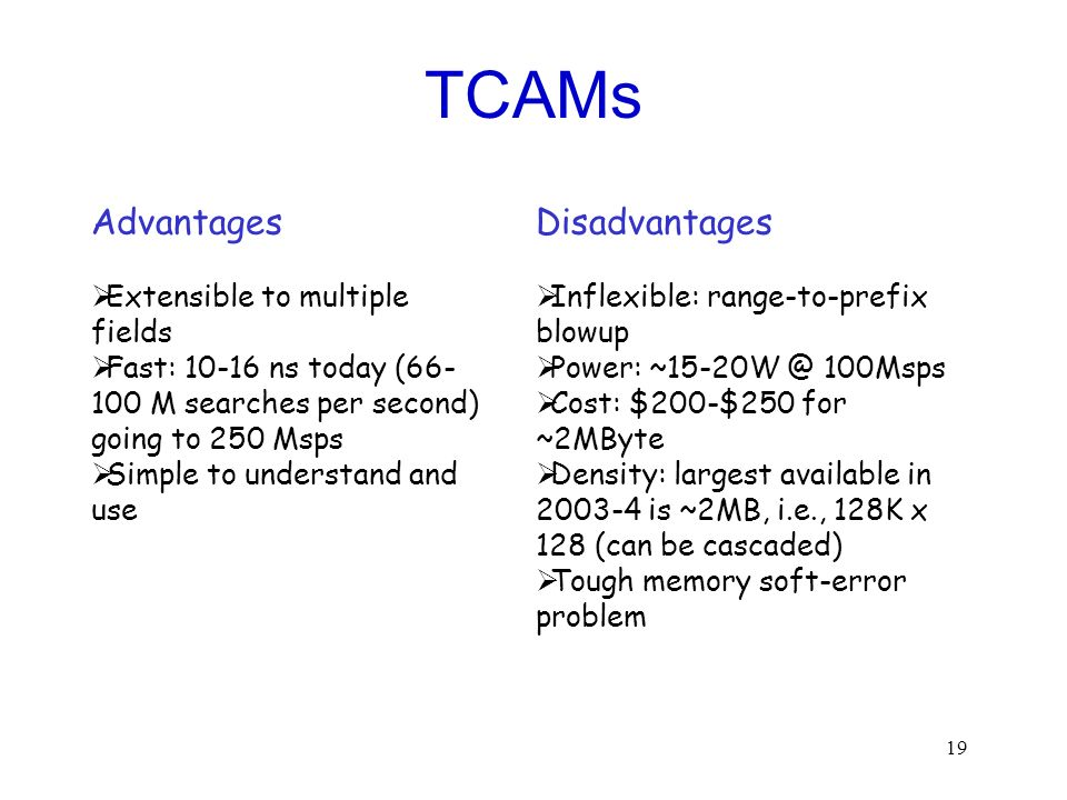 TCAMs Advantages Disadvantages Extensible to multiple fields