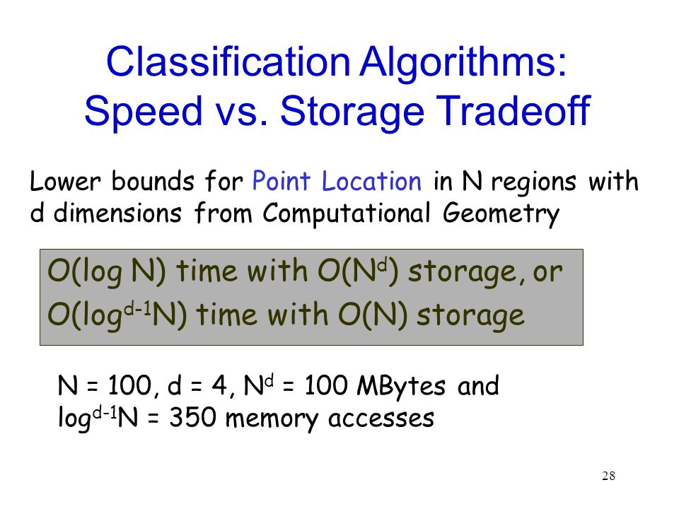 Classification Algorithms: Speed vs. Storage Tradeoff
