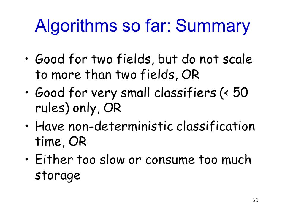 Algorithms so far: Summary
