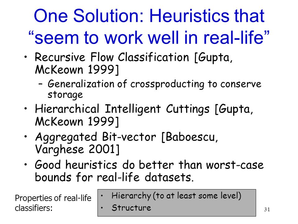 One Solution: Heuristics that seem to work well in real-life