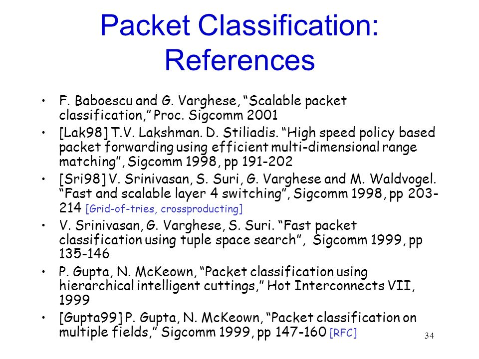 Packet Classification: References
