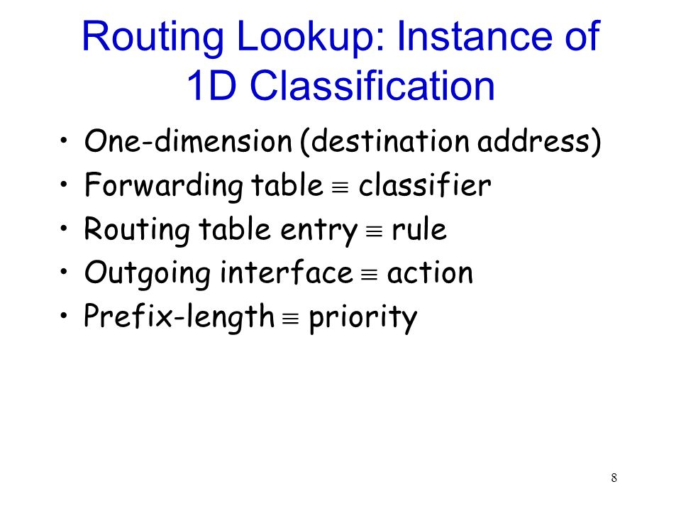 Routing Lookup: Instance of 1D Classification