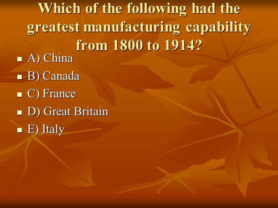 Which of the following had the greatest manufacturing capability from 1800 to 1914