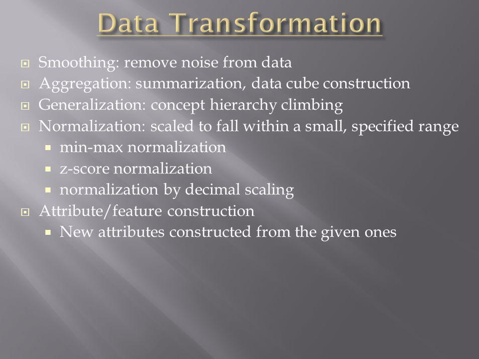 Data Transformation Smoothing: remove noise from data
