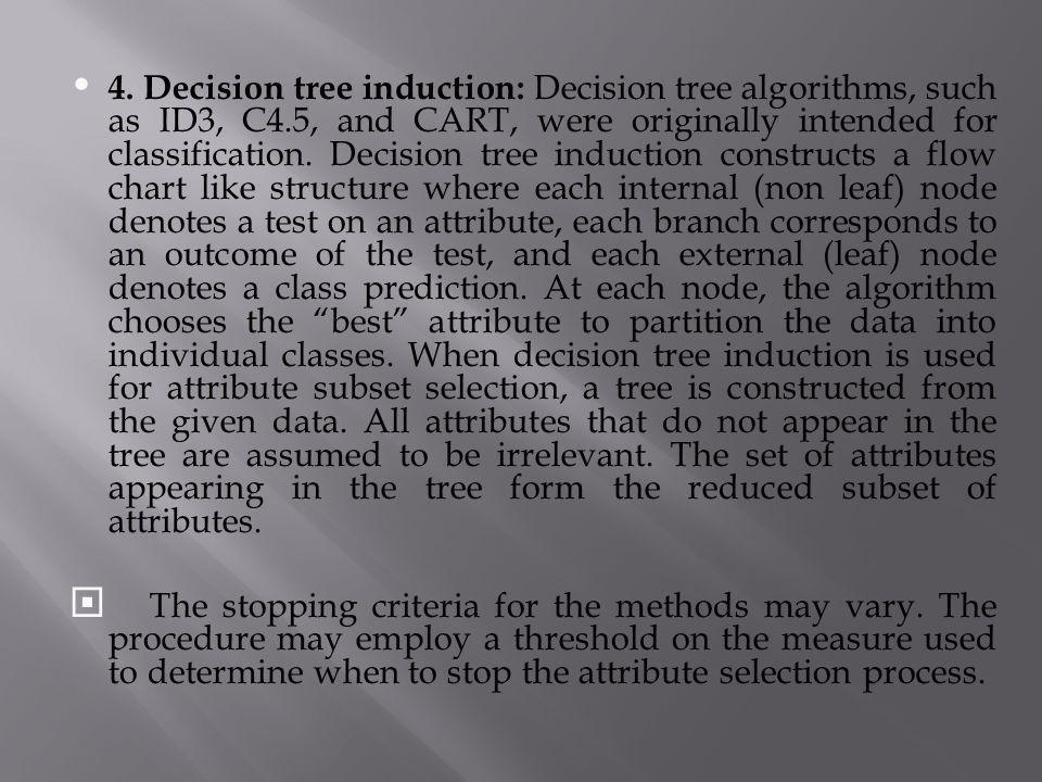 4. Decision tree induction: Decision tree algorithms, such as ID3, C4