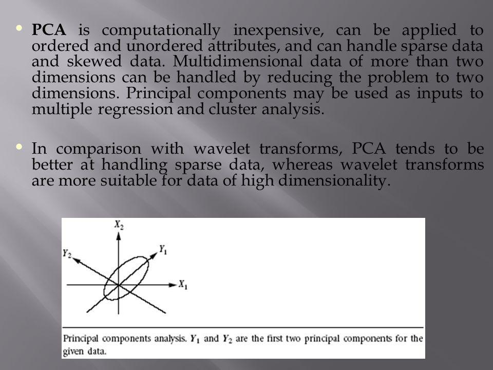 PCA is computationally inexpensive, can be applied to ordered and unordered attributes, and can handle sparse data and skewed data. Multidimensional data of more than two dimensions can be handled by reducing the problem to two dimensions. Principal components may be used as inputs to multiple regression and cluster analysis.