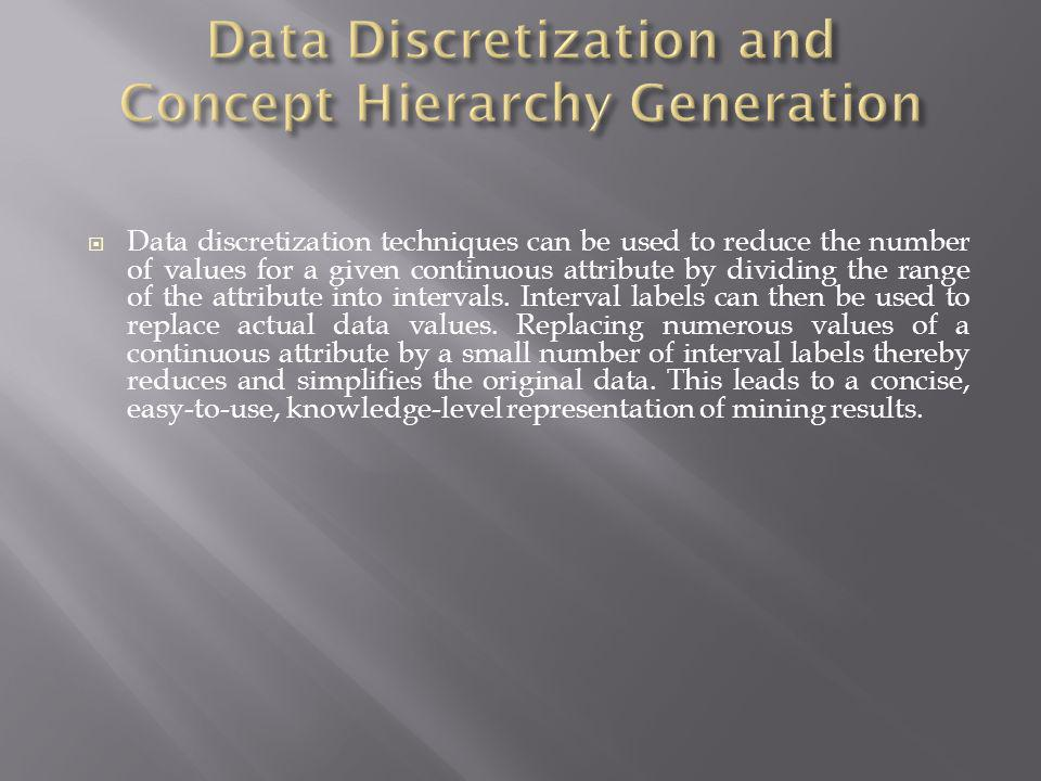 Data Discretization and Concept Hierarchy Generation