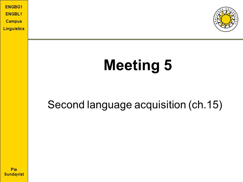 Second language acquisition (ch.15)