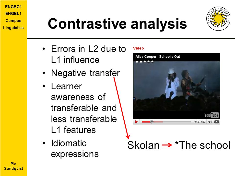 Contrastive analysis Skolan *The school