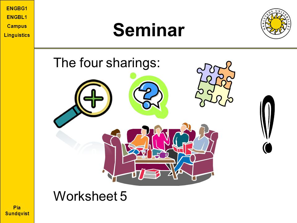 Seminar The four sharings: Worksheet 5