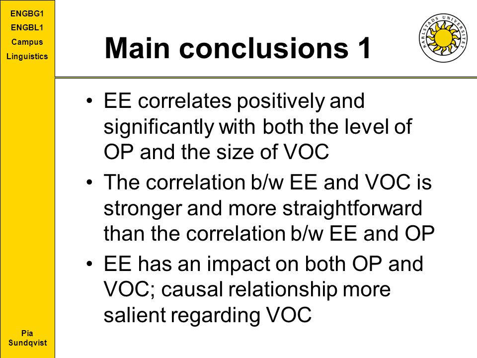 Main conclusions 1 EE correlates positively and significantly with both the level of OP and the size of VOC.