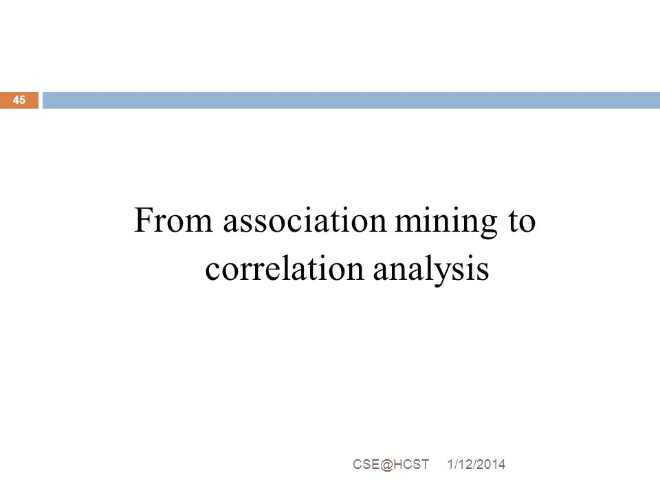From association mining to correlation analysis