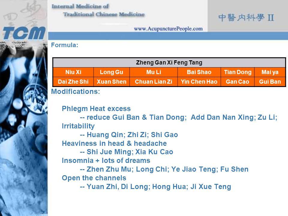 -- reduce Gui Ban & Tian Dong; Add Dan Nan Xing; Zu Li; Irritability