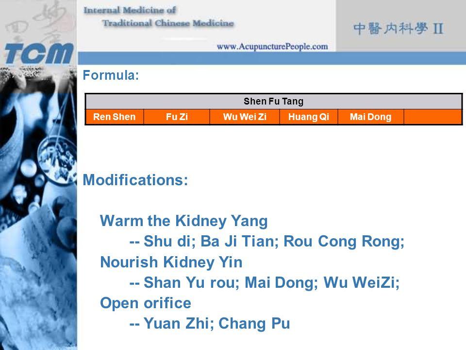 -- Shu di; Ba Ji Tian; Rou Cong Rong; Nourish Kidney Yin