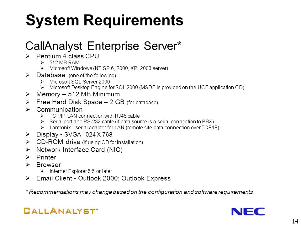 System Requirements CallAnalyst Enterprise Server* Pentium 4 class CPU
