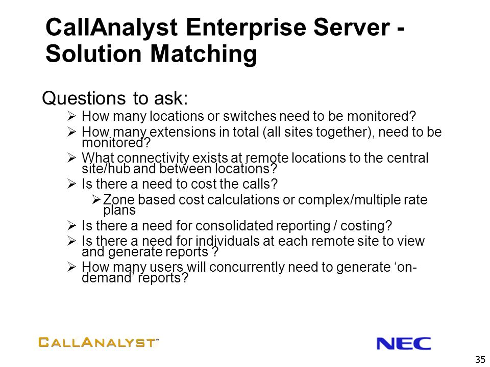 CallAnalyst Enterprise Server - Solution Matching