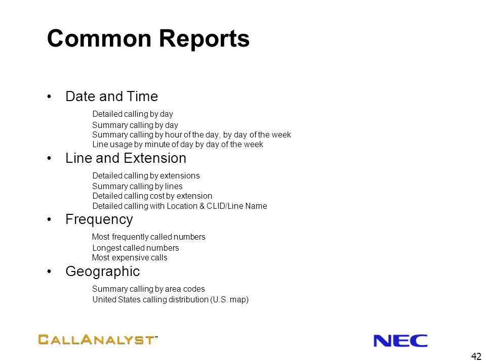 Common Reports Date and Time Line and Extension Frequency Geographic