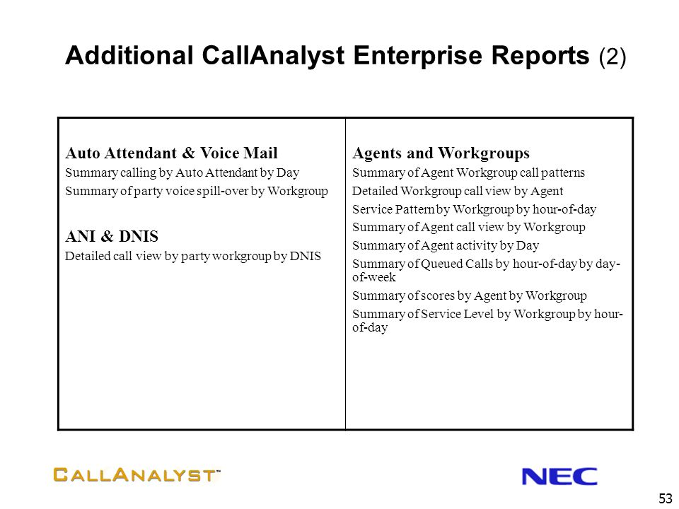 Additional CallAnalyst Enterprise Reports (2)