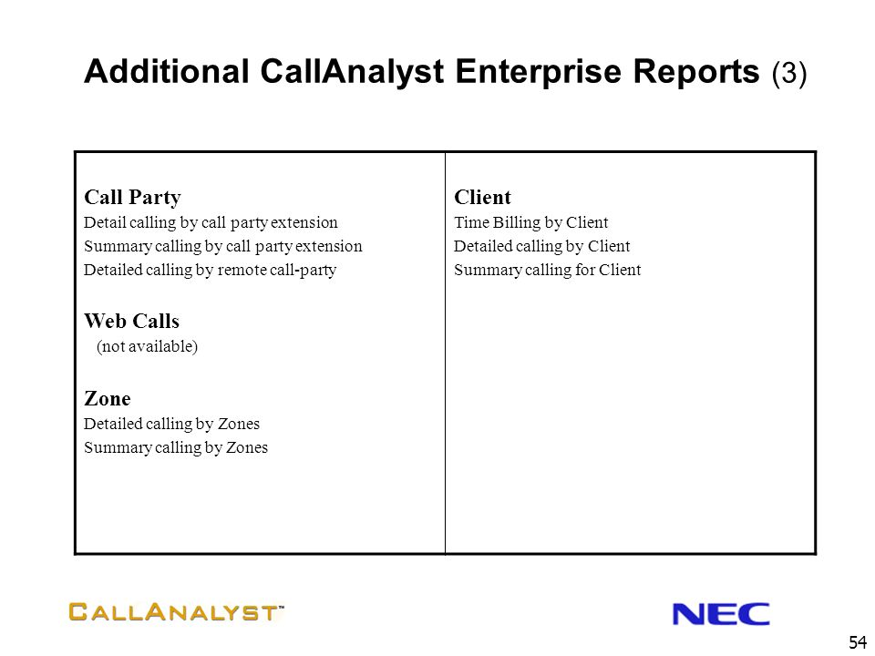 Additional CallAnalyst Enterprise Reports (3)