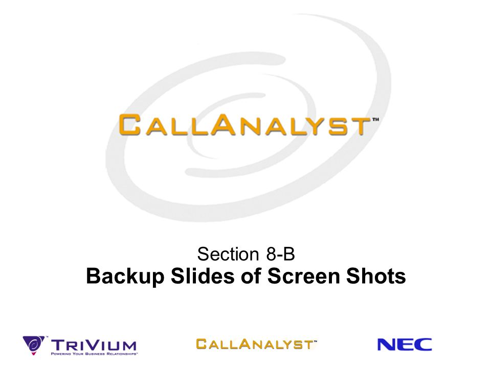 Section 8-B Backup Slides of Screen Shots